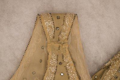 Beige beaded dress, strap detail, 1920s