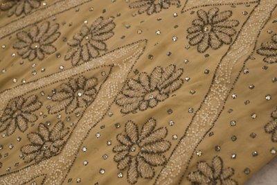 Beige beaded dress, embellishment detail, 1920s