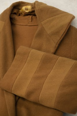 Brown wool coat, collar and cuff detail, 1920