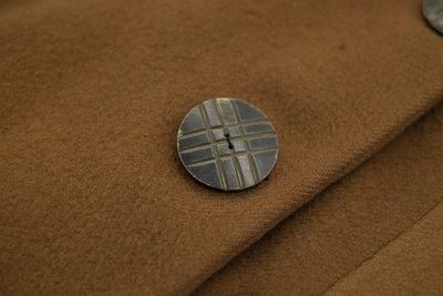 Brown wool coat, button detail, 1920