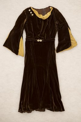 Brown velvet cowl neck dress, front view, undated
