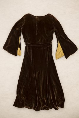 Brown velvet cowl neck dress, back view, undated