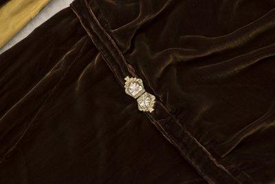 Brown velvet cowl neck dress, belt closure detail, undated