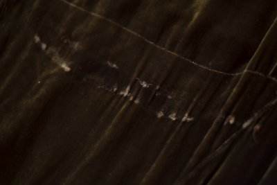 Brown velvet cowl neck dress, damage detail, undated