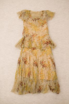 Orange silk floral dress, front view, late 1920s-early 1930s