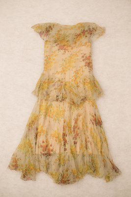 Orange silk floral dress, back view, late 1920s-early 1930s