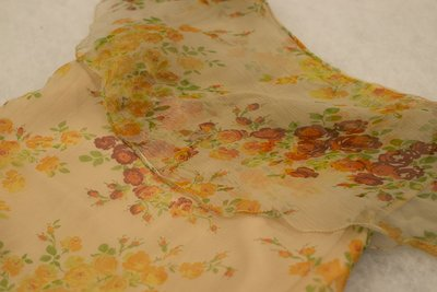 Orange silk floral dress, skirt detail, late 1920s-early 1930s