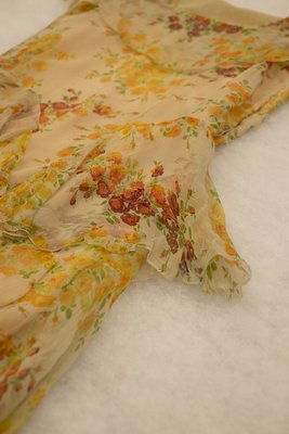 Orange silk floral dress, waist detail, late 1920s-early 1930s