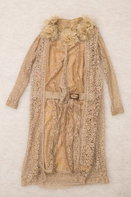 Peach lace dress and matching vest with flower details, front view, 1925