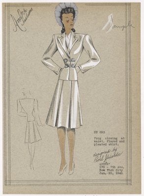 Two piece suit with pleated skirt and frog closing on jacket