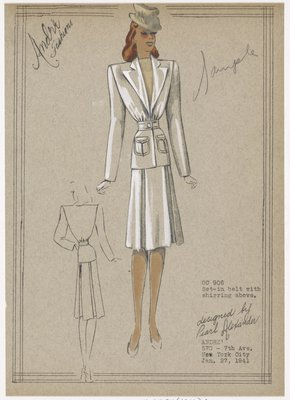 Two piece suit with belted waist and deep bodice opening