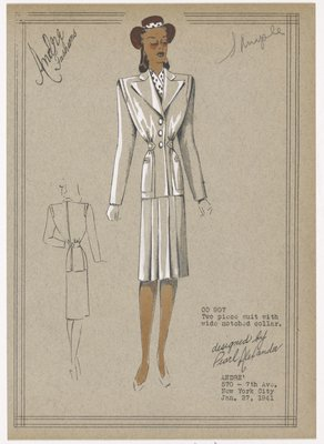 Two piece suit with wide notched collar.