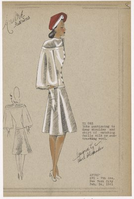 Two piece suit with decorative yoke and balloon sleeves.