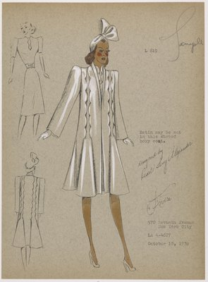 Coat with scallop detail extending from hips over shoulders.