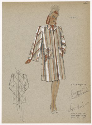 Plaid topcoat with vertical patch pockets at waist.