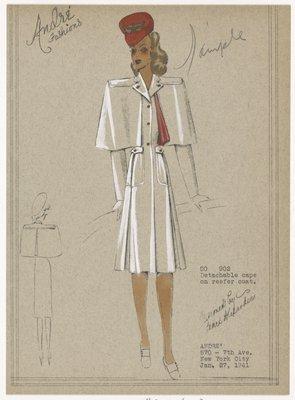 Detachable cape on reefer coat.