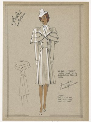 DANDY reefer coat with detachable tiered cape.