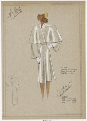 Coat with attached faille cape and front panel.