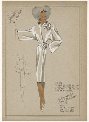 Dolman sleeved dressy coat.