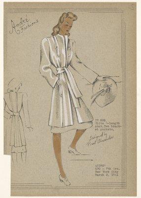 White 3/4 length coat.
