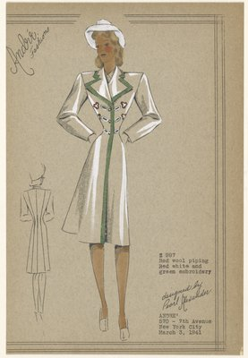 Double-breasted coat with wide pointed lapels and embroidered accents