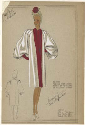 Coat with balloon sleeves and open front