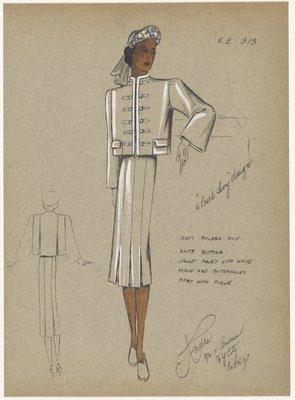 Navy bolero suit.