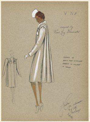 Boxy coat with front panels and full-length pleats in back