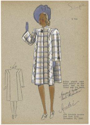 Bulky plaid coat.