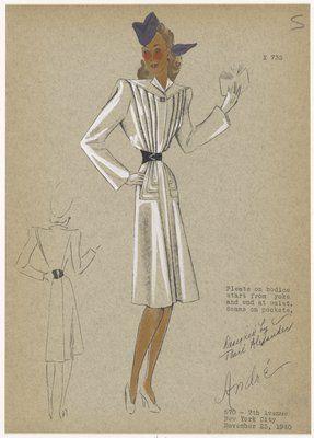Belted coat with triangular yoke, knife pleats on bodice and seamed pockets.