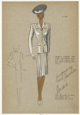 Suit with jacket seaming detail and pleated skirt.