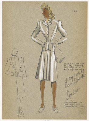 Two-piece suit with jacket edged in cord and skirt with front center pleats.