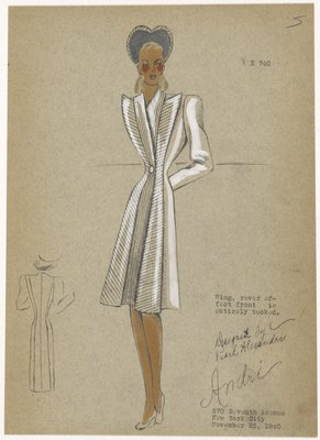 Fitted dressmaker's coat, with front panels of horizontal and vertical tucks running from neckline to hem.