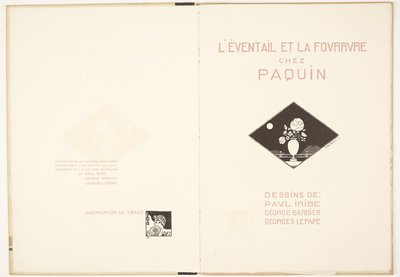 L'Eventail et la fourrure chez Paquin [Fans and Furs at Paquin]; Tirage and title pages
