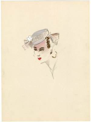 Millinery design by Esther Klepper for Hattie Carnegie, Inc.; White Hat with Large Black Satin Bow