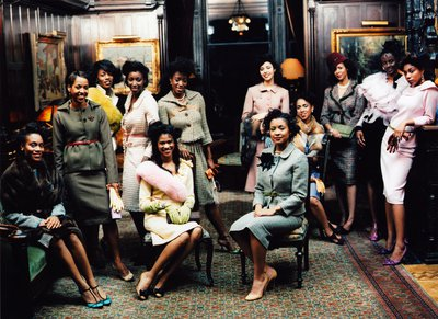 Fashion Photograph of African American Women in a Turn-Of-The-Century Harlem Interior