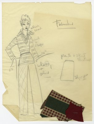 Sketch of Coodinating Knit Sweater with Collar and Pants