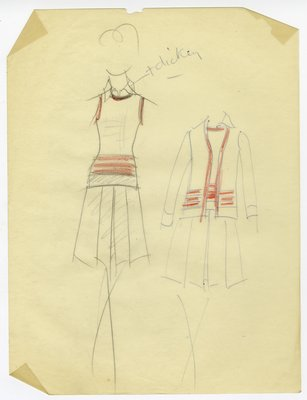 Sketch of Knit Vest, Skirt and Jacket Separates