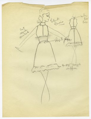 Sketch of Sleeveless Day Dress with Ruffled Hem