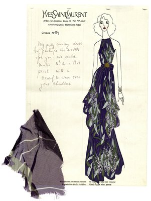 Printed, Handpainted Croquis of Evening Dress