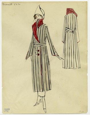 Original Fashion Sketch of a Premet Garment from The Max Meyer Collection
