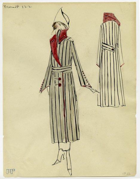 Original fashion sketch of a premet garment