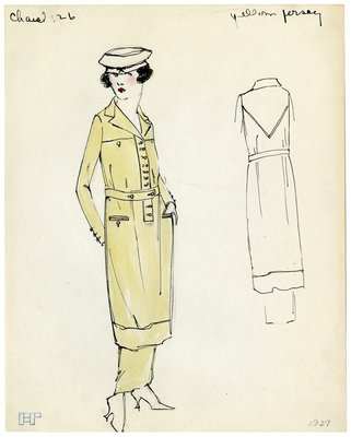 Original Illustration of a Woman in a Yelllow Chanel Sport Dress