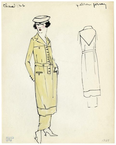 Original Illustration of a Woman in a Yellow Chanel Sport Dress