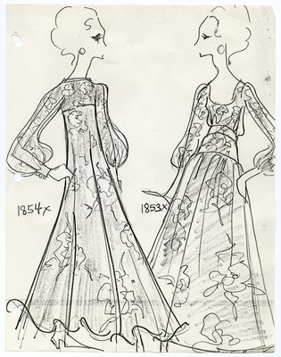 Reproduction of Fashion Sketch of Scaasi Dresses