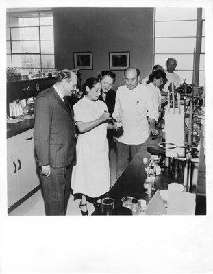 Helena Rubinstein in her laboratory