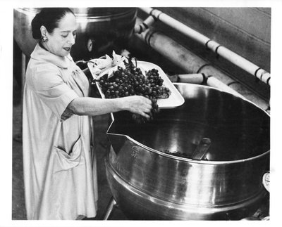 Helena Rubinstein placing grapes into vat