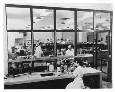 Helena Rubinstein in laboratory