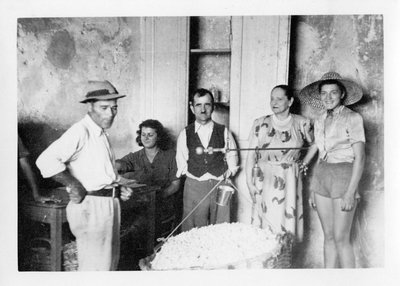 Helena Rubsinstein with workers at her villa in Grasse, France