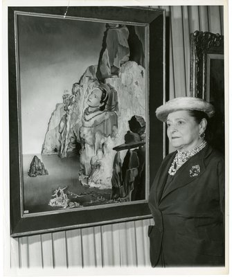 Helena Rubinstein with her portrait by Dali
